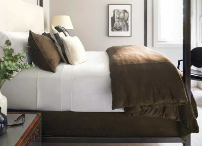 TECHNICAL SUEDE Duvet Cover on bed shown in hazelnut #choose-your-color_hazelnut