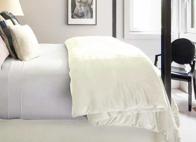 TECHNICAL SUEDE Duvet Cover on bed shown in sugar #choose-your-color_sugar