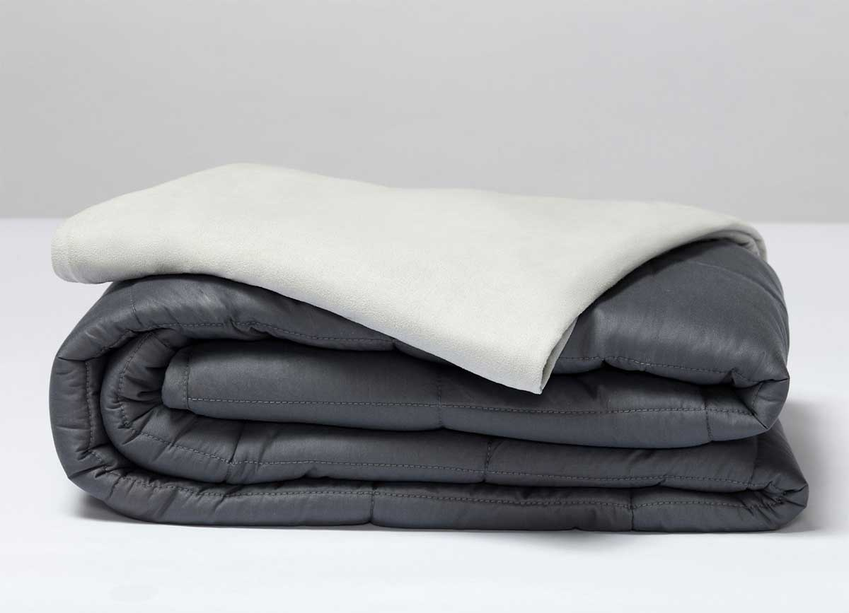 SHEEX CALM + COOL Weighted Blanket inner and outer layers in stack