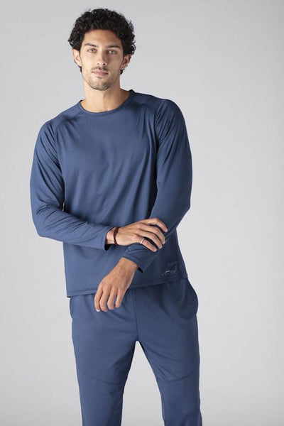 Model wearing SHEEX Men's Long Sleeve Tee in Slate Blue #choose-your-color_slate-blue