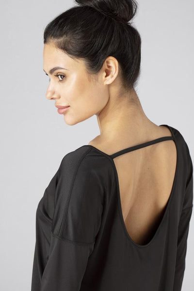 SHEEX Women's Open Back LS Tee black