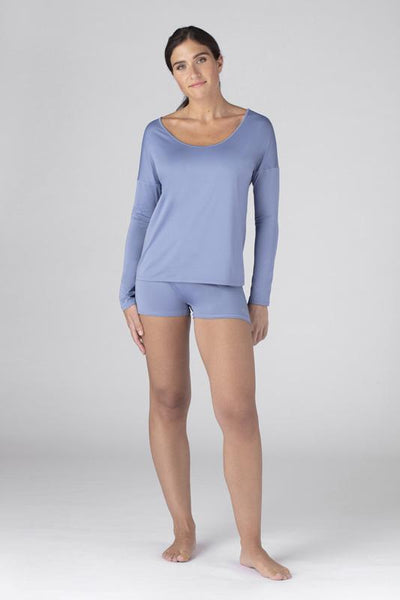Model wearing the SHEEX Women's Open Back LS Tee in Light Blue #choose-your-color_light-blue