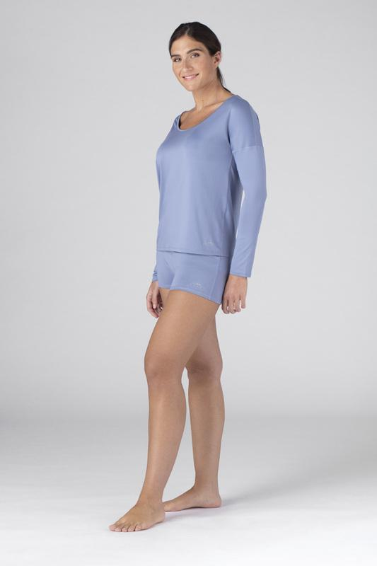 SHEEX Women's Open Back LS Tee light-blue