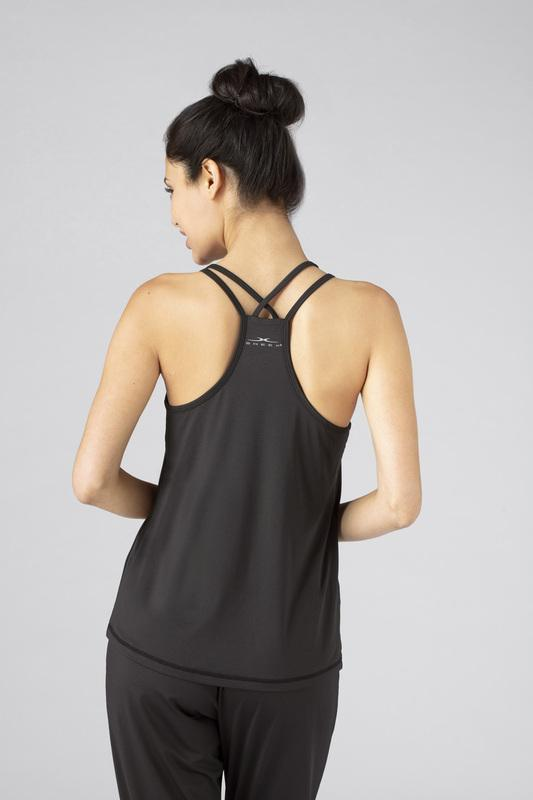 Model wearing the SHEEX WOMEN CROSS BACK CAMI in Black #choose-your-color_black