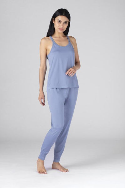 Model weearing the SHEEX WOMEN CROSS BACK CAMI in Light Blue #choose-your-color_light-blue