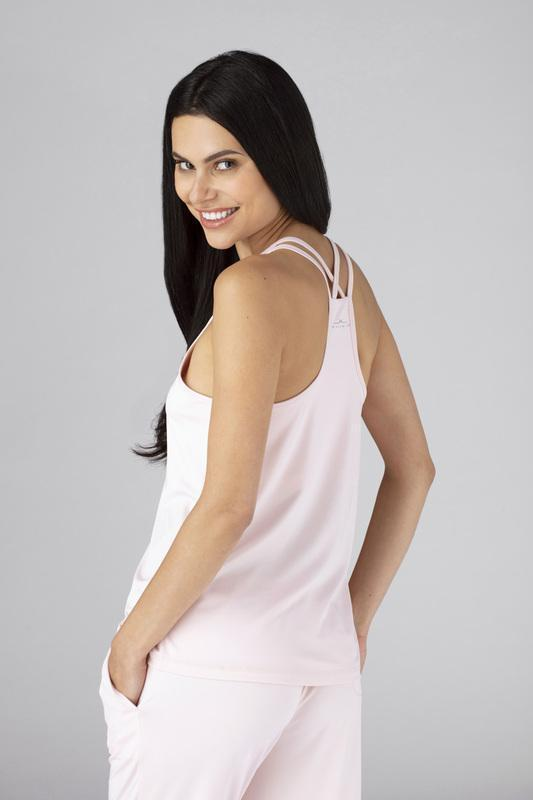 Model wearing the SHEEX WOMEN CROSS BACK CAMI in Blush Pink #choose-your-color_blush-pink