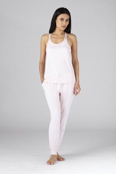 Model wearing SHEEX Women's Modern Jogger shown in blush-pink #choose-your-color_blush-pink