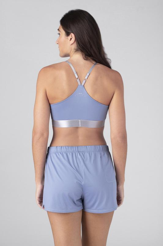 Model wearing the SHEEX Women's P.J. Shorts light-blue #choose-your-color_light-blue