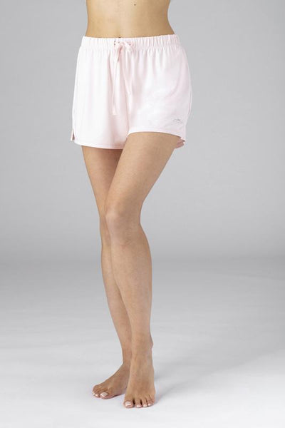 Model wearing the SHEEX Women's P.J. Shorts blush-pink #choose-your-color_blush-pink