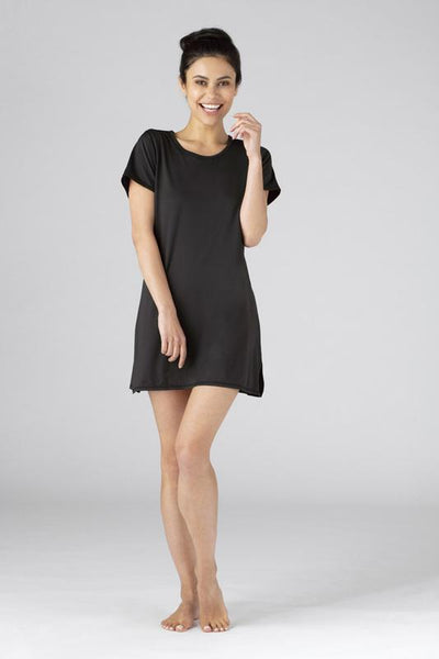 SHEEX Womens Keyhole Sleep Tee Dress black