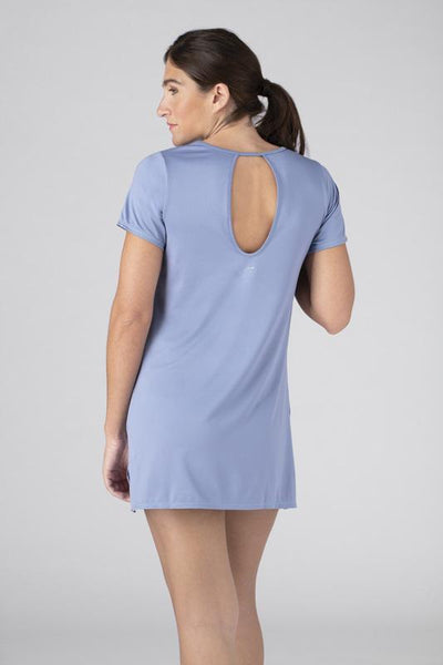 SHEEX Womens Keyhole Sleep Tee Dress light-blue