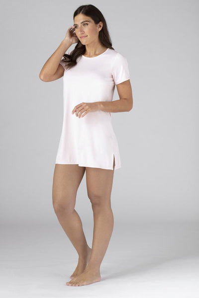Model wearing the SHEEX Womens Keyhole Sleep Tee Dress in Blush Pink #choose-your-color_blush-pink