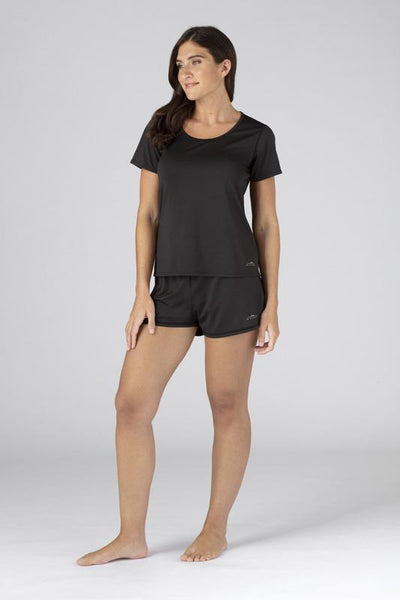 Model wearing the SHEEX Women's Cutout Tee in Black #choose-your-color_black