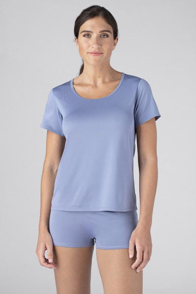 Model wearing the SHEEX Women's Cutout Tee in Light Blue #choose-your-color_light-blue