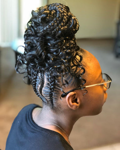 Bohemian Box Braids Bun