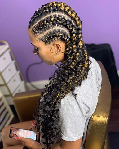 Bohemian Box Braids in Cornrows