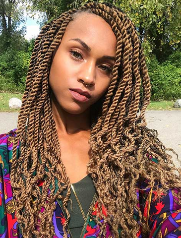Honey Blonde Twists with Curly Ends