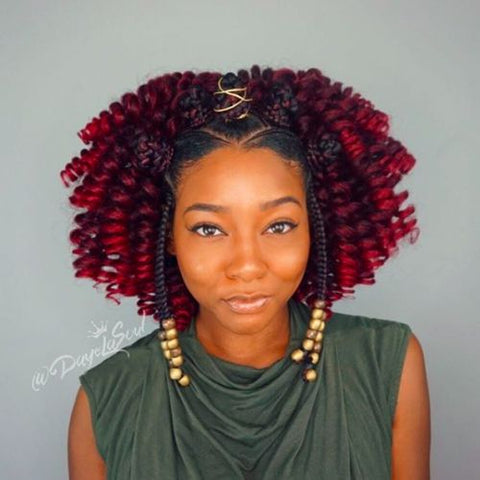 Red Crochet with Bantu Knots and Fulani Braids
