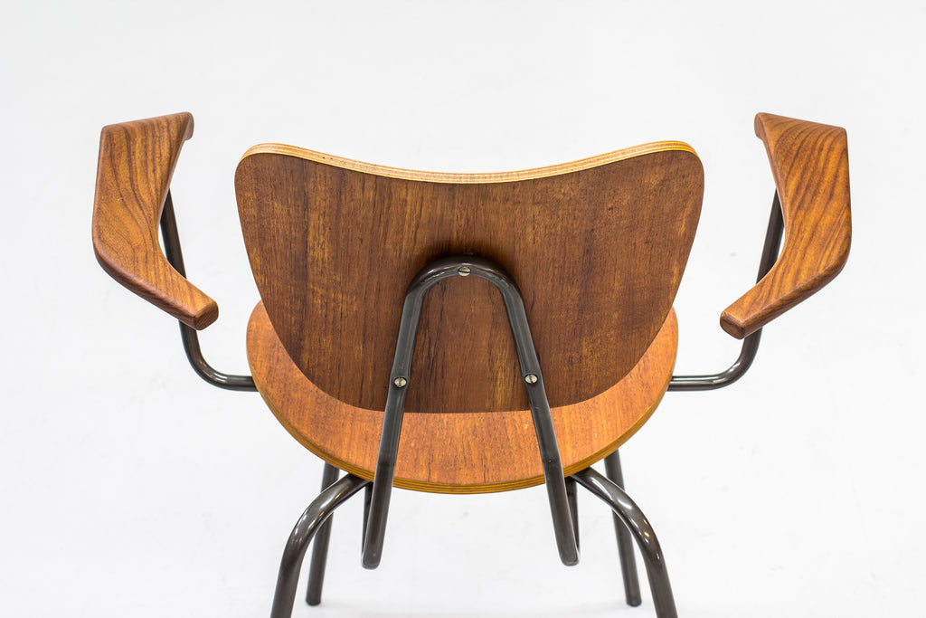 Swedish tubular steel and teak armchair