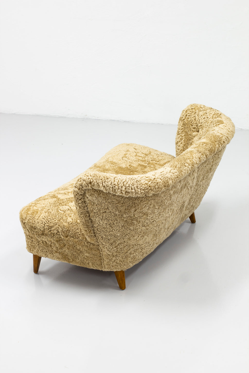 Loveseat shearling sofa by Gösta Jonsson