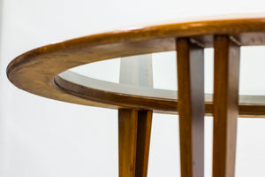 Round glass coffee table by Bertil Fridhagen