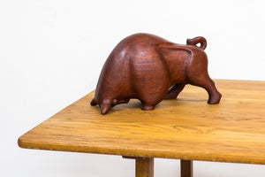 Danish bull sculpture in teak