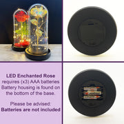 Galaxy Rose Co LED Enchanted Rose Disney Beauty and the Beast eternal rose in glass dome Valentine's Day gifts for her wife girlfriend partner fiancé mom daughter iridescent rainbow rose romantic silk red rose how does it work