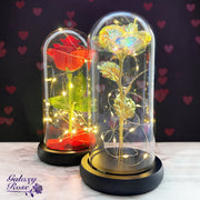 Galaxy Rose Co LED Enchanted Rose Disney Beauty and the Beast eternal rose in glass dome Valentine's Day gifts for her wife girlfriend partner fiancé mom daughter iridescent rainbow rose romantic silk red rose black luxury gift box free with purchase