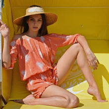 Load image into Gallery viewer, Feather romper one size can be worn off shoulders. Nice tangerine summer color.