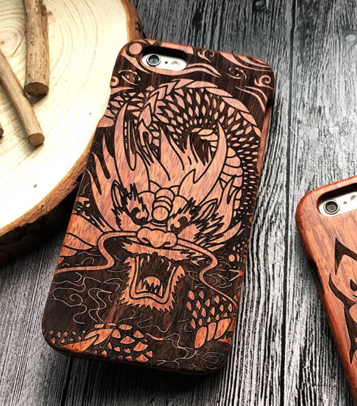 Dragon Engraved Natural Wooden Case For Iphone X Xs Xs Max Xr