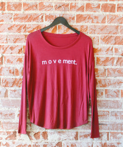 Maroon Centered + Strong 'Movement' text Flowy Long-Sleeve Tee
