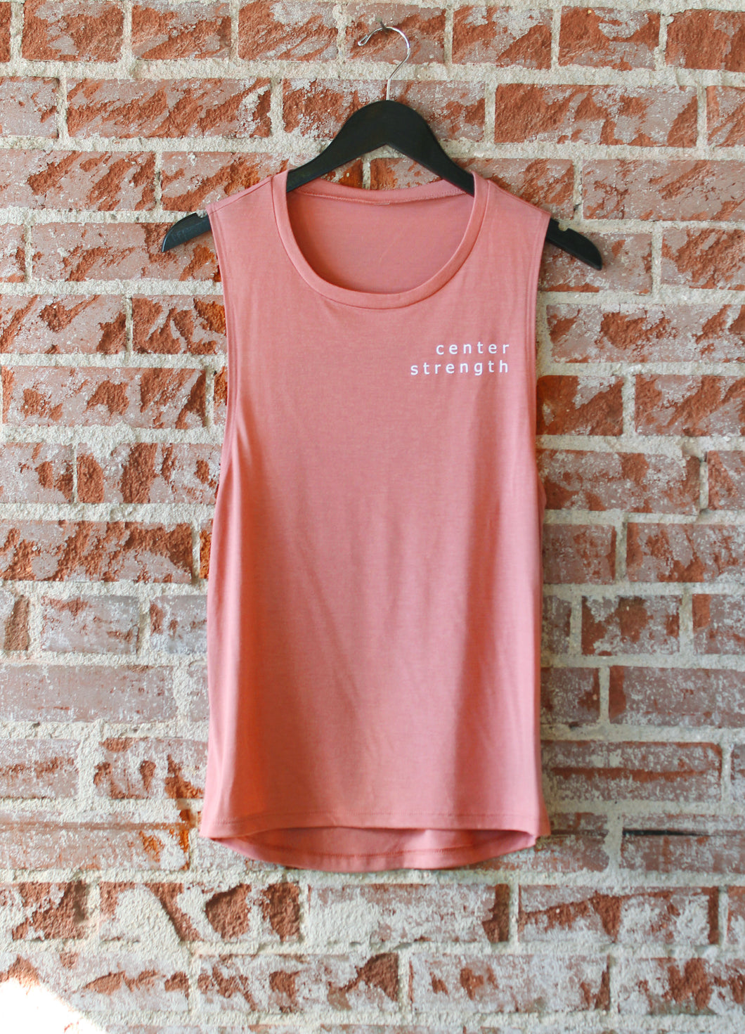 Light Red Centered + Strong Flowy Scoop Muscle Tank