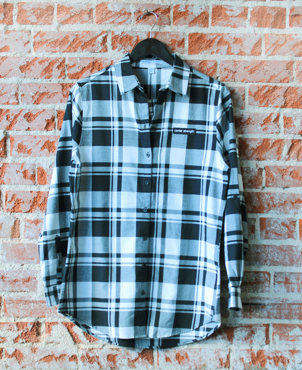 Black and White Centered + Strong Ladies Plaid Flannel Tunic