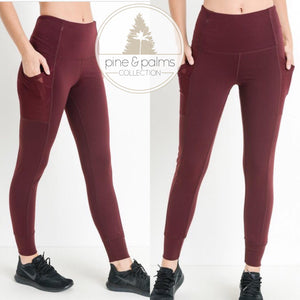 Burgundy Side Pocket Legging