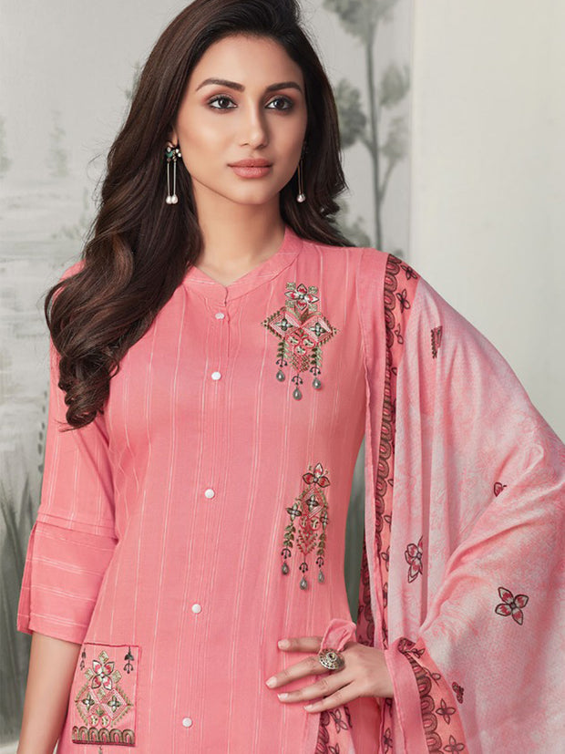 Akshara Pink Straight Cut Suit