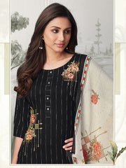 Akshara Black Straight Cut Suit