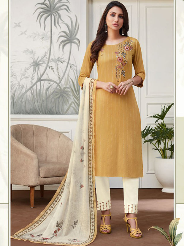 Akshara Mustard Straight Cut Suit