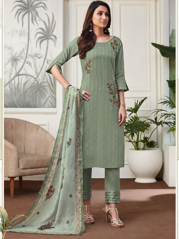 Akshara Pista Green Straight Cut Suit