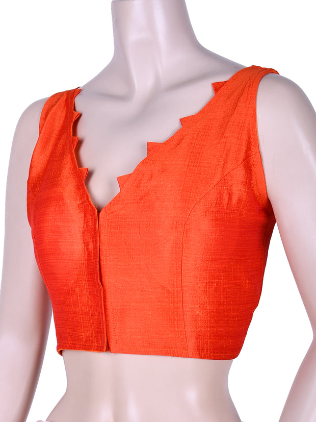 Dupion Silk V Neck Saree Blouse In Orange