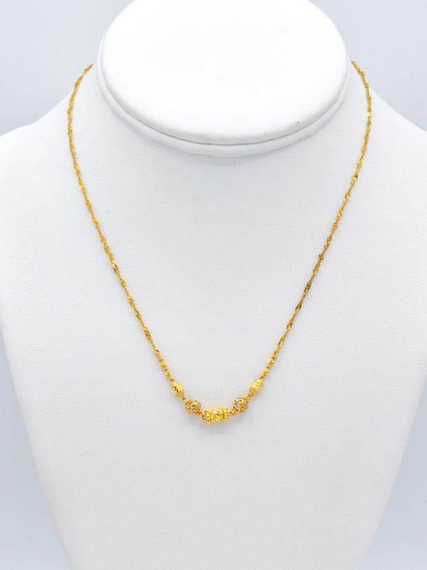 22ct Gold CZ Fancy Ball Twisted Chain