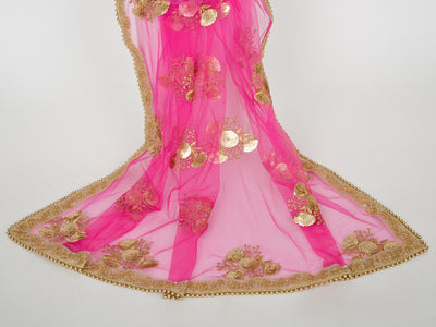 Hot Pink Netting Embroidered Dupatta