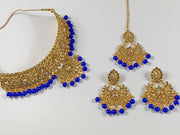 Gold and Royal Blue Pearl Choker Costume Necklace Set
