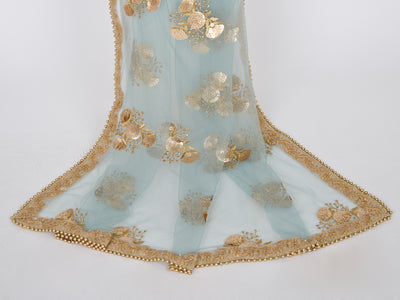 Light Blue Netting Embroidered Dupatta