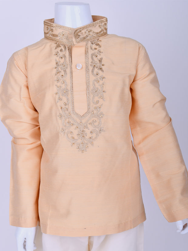 Beige Embroidered Silk Kurta