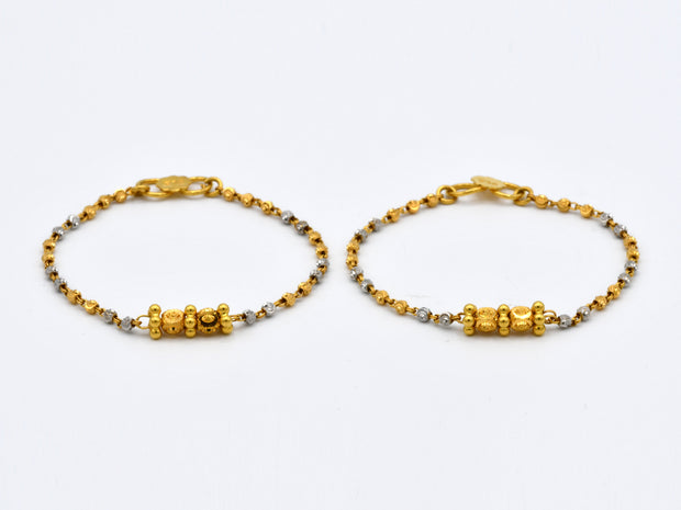 22ct Gold Rhd 2PC Baby Bracelets