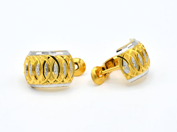 22ct Gold Two Tone Spring Bali Earrings