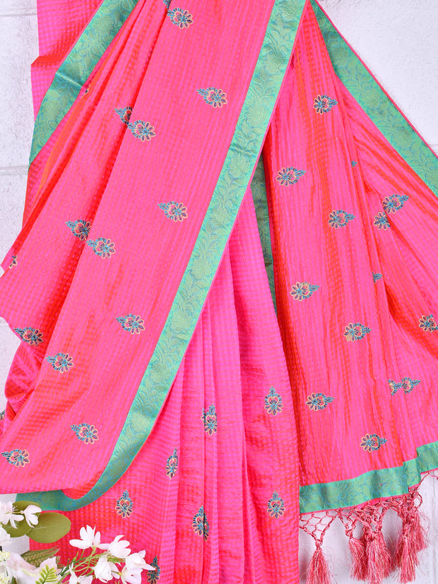 Stunning Silk Embroidered Saree In Rose Pink