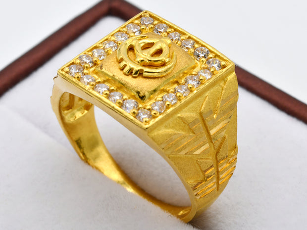 22ct Gold Khanda CZ Mens Ring