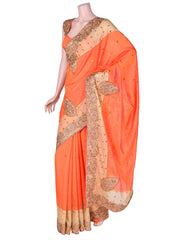 Orange Dupion Cutwork Saree