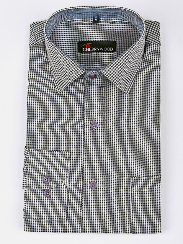 Mens Checks Shirt In Black & White